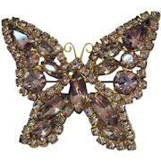 Gorgeous Figural Lavender Rhinestone Vintage Butterfly Brooch