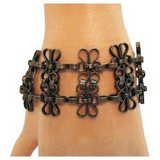 Unique Vintage Arts & Crafts Hand Forged Copper Flower Bracelet