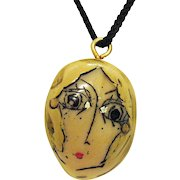 Interesting Vintage Hand Painted Face on Stone Silk Cord Necklace