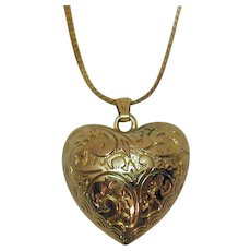Pretty Etched Puff Heart Vintage Pendant Necklace