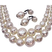 Stunning BIG Bold White Faux Baroque Pearl Vintage Necklace Clip Earrings Set