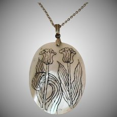 Unusual Sterling Silver Hand Painted Tulips Vintage Mother of Pearl Pendant Necklace Signed A&Z