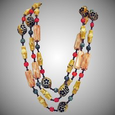 Unusual Vintage Bakelite Floral Bamboo Beaded Necklace 49 Inches Long