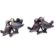 Wonderful Figural Kissing Love Birds Sterling Silver Vintage Screw Back Earrings