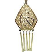 Bold Vintage Golden Abstract Curly-Q Fringe Pendant Necklace 4 ½ Long