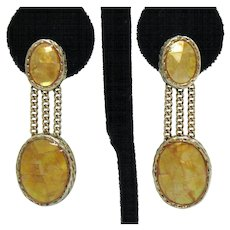 Stunning Signed Monet Dangle Dyed Mother of Pearl Vintage Chain Mosaic Clip Earrings