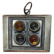 Signed R Tennesmed Landerholm Sweden Pewter Modernist Vintage Pendant Amber Stones