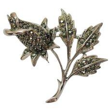 Unusual Signed Lisner Vintage Marcasite Rose Flower Brooch