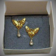 Signed Avon 1997 Garden Friends Pierced Butterfly CZ Earrings Original Box