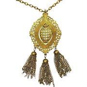 Signed Lisner Vintage Golden Medallion Chain Tassel Pendant Necklace BOLD 5 Inches Long