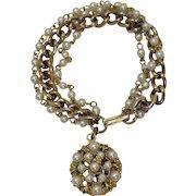 Beautiful Vintage Three Row Faux Pearl Charm Bracelet