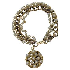 Beautiful Vintage Three Row Faux Pearl Charm Bracelet
