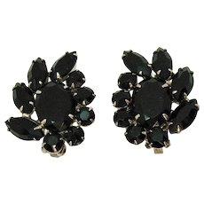 Spectacular Massive Black Rhinestone Vintage Clip Earrings