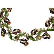 Rare Signed BSK Vintage Gorgeous Enameled Rhinestone Rose Bracelet