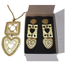 Rare Signed 1994 Avon American Treasures Heart Star Moon Necklace Earrings Set Unworn
