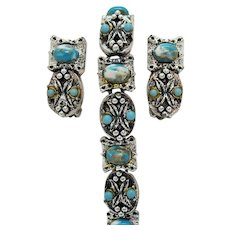 Awesome Vintage Art Glass Turquoise Floral Silver Bracelet Earrings Set