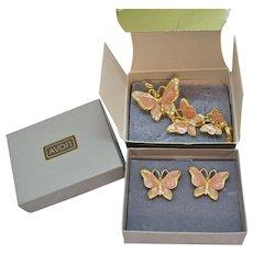 BOOK Vintage 1979 Spring Butterfly Pink Enameled Brooch Pierced Earrings Set Original Box Unworn