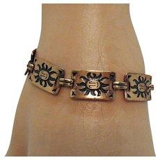 Awesome Vintage Copper Shadow Box Sun Face Vintage Link Bracelet