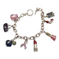 Super Fun Vintage Costume Jewelry Girly Girl Silver Metal Charm Bracelet FREE SHIPPING