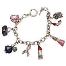 Super Fun Vintage Girly Girl Silver Metal Charm Bracelet