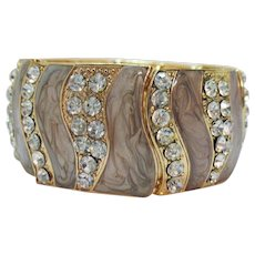 Bold Wide Vintage Enameled Rhinestone Abstract Stretch Bracelet