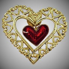 BOOK Vintage Signed Avon 1990 Figural Dangling Heart Pin Enameled Clutch Pin Unworn