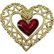 BOOK Vintage Signed Avon 1990 Figural Dangling Heart Pin Enameled Clutch Pin Unworn