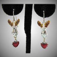 Adorable Vintage Figural Moose Pierced Earrings Enameled Ears Dangle Heart