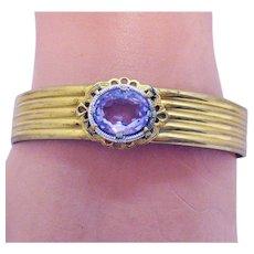 Gorgeous Vintage Hinged Bangle Amethyst Glass Stone Bracelet