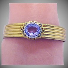 Gorgeous Vintage Hinged Bangle Amethyst Glass Stone Bracelet