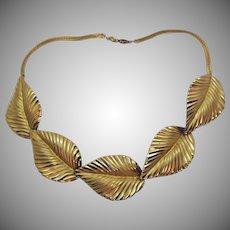 Gorgeous Bold Signed Napier Vintage Golden Leaf Link Necklace