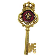 Rare Signed RJ Graziano Vintage Crown Fleur de lis Enameled Skeleton Key Brooch