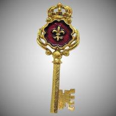 Rare Signed RJ Graziano Vintage Crown Fleur de lis Enameled Skeleton Key Brooch