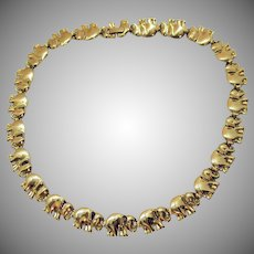 Awesome Vintage Continuous Golden Figural Elephant Link Necklace