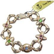 Signed Premier Designs Heavy Silver Colored Glass Vintage Bracelet Original Tag Unworn