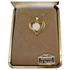 50% Off Signed Jo Anne Jewels Vintage Genuine Carved Rose Mother of Pearl Necklace Original Box