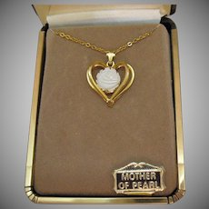 Vintage Signed Jo Anne Jewels Genuine Carved Rose Mother of Pearl Necklace Original Box