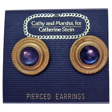 Vintage Carded Cathy and Marsha for Catherine Stein Pierced Earrings Glass Cabochon