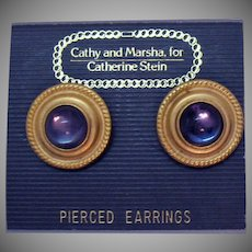 Vintage Carded Cathy and Marsha for Catherine Stein Mogul Pierced Earrings Glass Cabochon