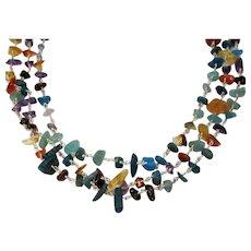 Genuine Gemstone Nugget Three Strand Stainless Steel Necklace