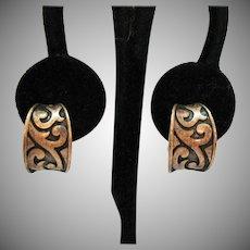 Wonderful Vintage Copper Shadow Box Saddle Half Hoop Clip Earrings