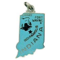 Sterling Silver Signed Wells Vintage Hoosier State Indiana Blue Enameled Charm