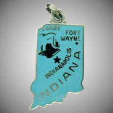 Sterling Silver Signed Wells Vintage Hoosier State Indiana Blue Enameled Charm