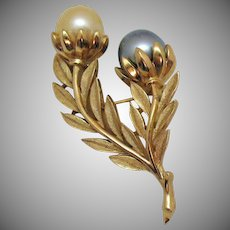 Hard to Find Signed Crown Trifari Vintage Faux Grey White Pearl Brooch