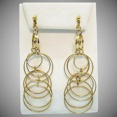Gorgeous Vintage Golden Hoop Dangle Pierced Earrings