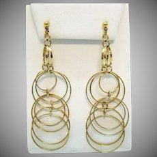 Gorgeous Vintage Golden Hoop Dangle Pierced Earrings