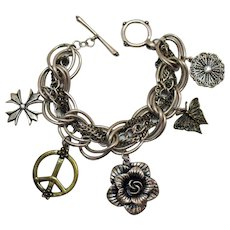 Really Awesome Heavy Vintage Silver Brass Chunky Charm Bracelet