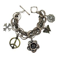 Really Awesome Heavy Vintage Silver Brass Chunky Charm Bracelet FREE SHIPPING