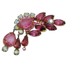 Voluminous Vintage Pink Sparkling Rhinestone Dangle Brooch