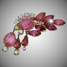 Voluminous Vintage Pink Sparkling Rhinestone Dangle Brooch